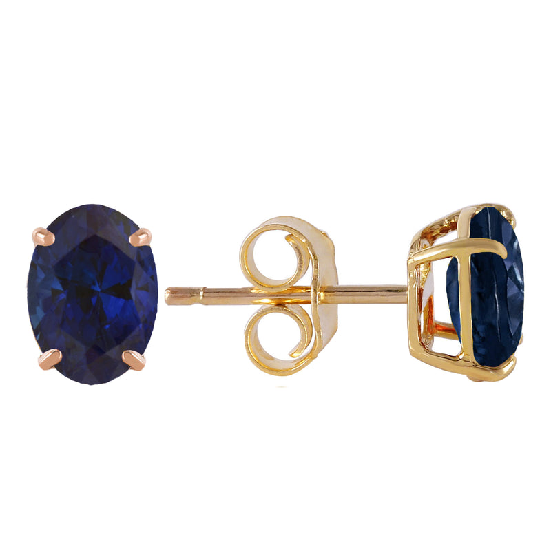 2 Carat 14K Solid Yellow Gold Stud Earrings Natural Sapphire