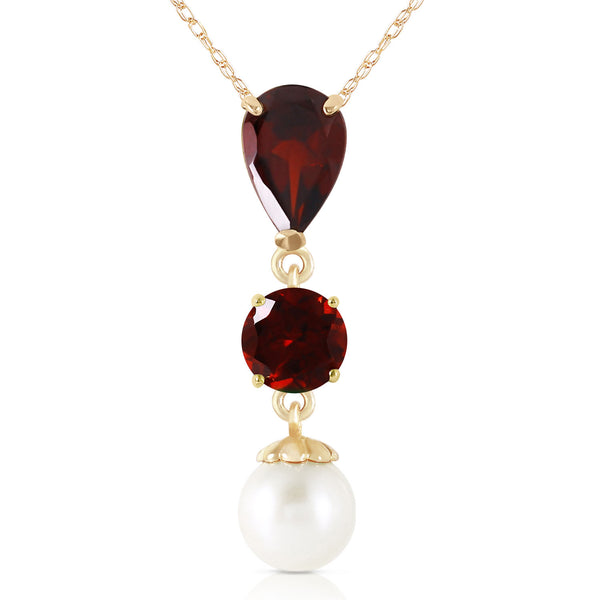 5.25 Carat 14K Solid Yellow Gold Necklace Garnet Pearl