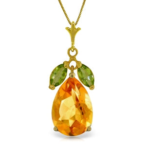 6.5 Carat 14K Solid Yellow Gold Necklace Citrine Peridot