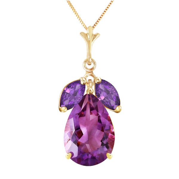 6.5 Carat 14K Solid Yellow Gold Christiana Amethyst Necklace