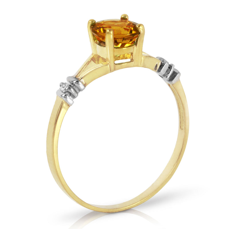 1.02 Carat 14K Gold Tremendously Lovely Citrine Diamond Ring