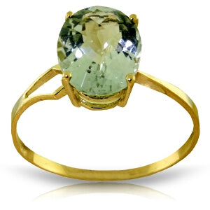 2.2 Carat 14K Solid Yellow Gold Ring Checkerboard Cut Green Amethyst