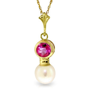 1.23 Carat 14K Solid Yellow Gold Reinvention Pink Topaz Pearl Necklace