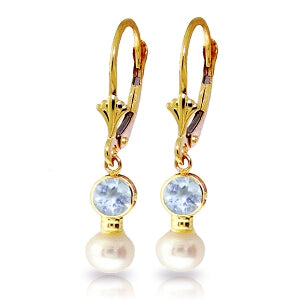 2.7 Carat 14K Solid Yellow Gold Leverback Earrings Pearl Aquamarine
