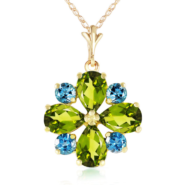 2.43 Carat 14K Solid Yellow Gold Necklace Peridot Blue Topaz
