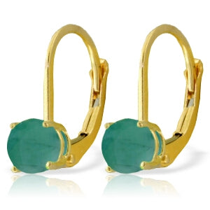 1.2 Carat 14K Solid Yellow Gold Leverback Earrings Emerald