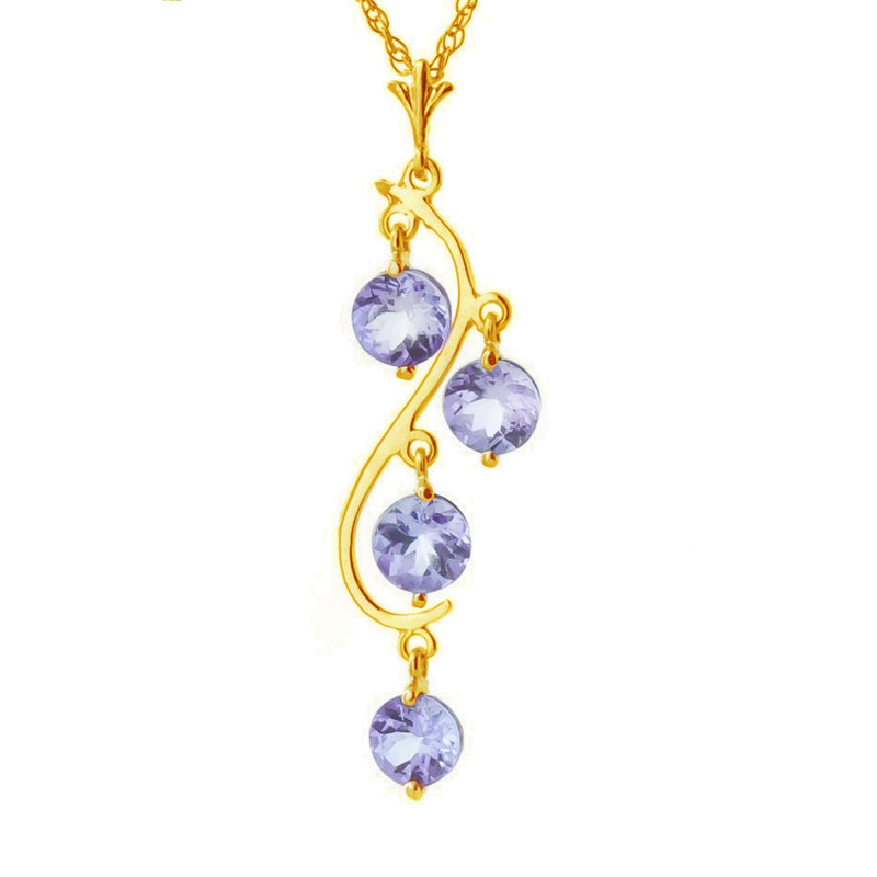 2 Carat 14K Solid Yellow Gold Spring Night Tanzanite Necklace