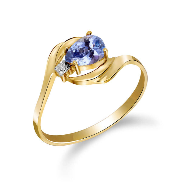 0.51 Carat 14K Solid Yellow Gold Daffodil Delight Tanzanite Diamond Ring