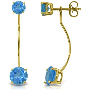 4.3 Carat 14K Solid Yellow Gold Stud Drops Earrings Natural Blue Topaz