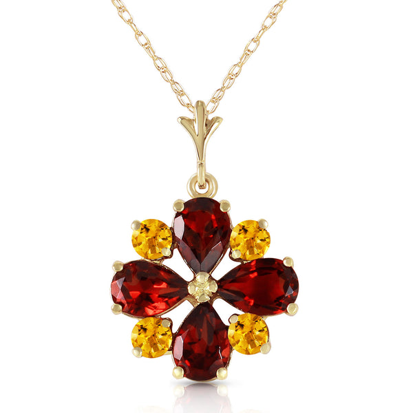 2.43 Carat 14K Gold Irrestible Garnet Citrine Necklace