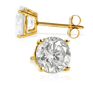 4.5 Carat 14K Solid Yellow Gold Cubic Zirconia Stud Earrings