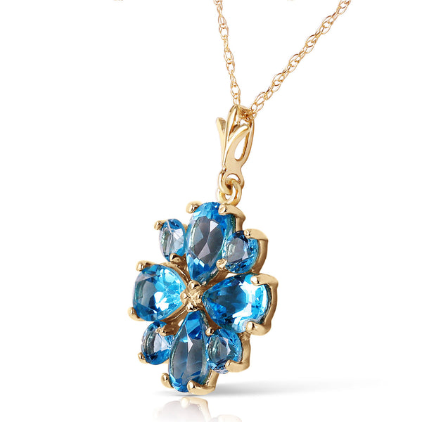 2.43 Carat 14K Solid Yellow Gold Beauvoire Blue Topaz Necklace
