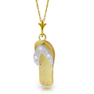 0.02 Carat 14K Solid Yellow Gold Shoes Necklace Natural Diamond