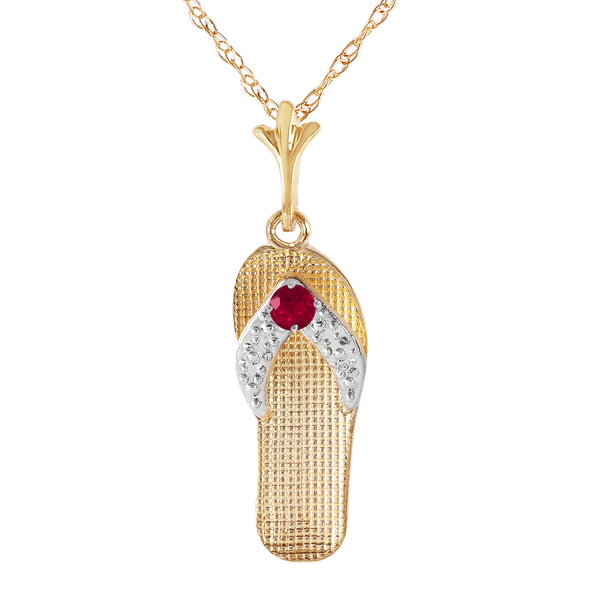 0.15 Carat 14K Solid Yellow Gold Shoes Necklace Natural Ruby