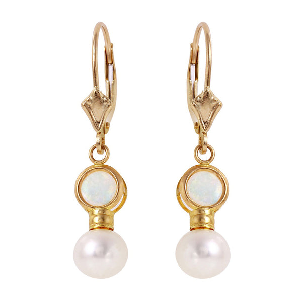 5.17 Carat 14K Solid Yellow Gold Leverback Earrings Pearl Opal