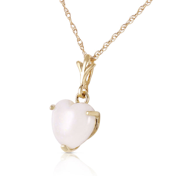 0.65 Carat 14K Gold Necklace Natural Heart Opal