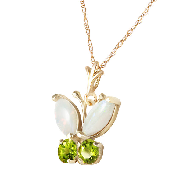 0.7 Carat 14K Solid Yellow Gold Butterfly Necklace Opal Peridot
