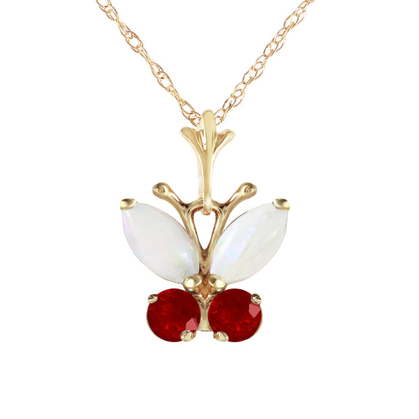 0.7 Carat 14K Solid Yellow Gold Butterfly Necklace Opal Ruby
