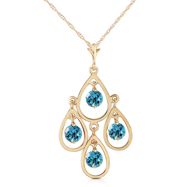 1.2 Carat 14K Solid Yellow Gold Never Catch Blue Topaz Necklace