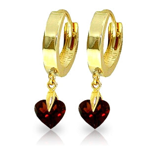 1.5 Carat 14K Solid Yellow Gold Hoop Earrings Natural Garnet