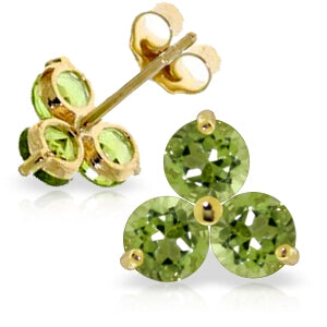 1.5 Carat 14K Solid Yellow Gold Long Term Intentions Peridot Earrings