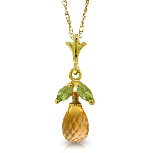 1.7 Carat 14K Solid Yellow Gold Acceptance Citrine Peridot Necklace