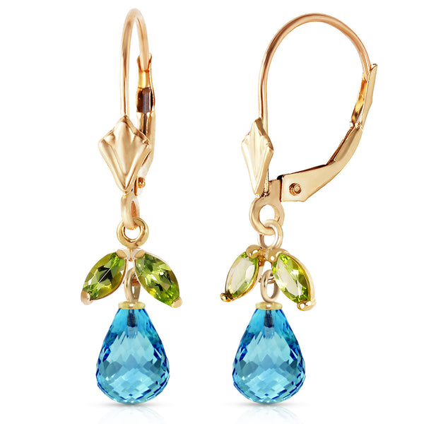 3.4 Carat 14K Solid Yellow Gold Leverback Earrings Blue Topaz Peridot