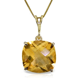 3.6 Carat 14K Solid Yellow Gold Necklace Natural Checkerboard Cut Citrine