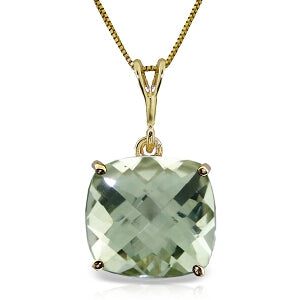 3.6 Carat 14K Solid Yellow Gold Necklace Natural Checkerboard Cut Green Amethyst