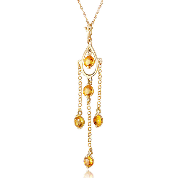 1.5 Carat 14K Solid Yellow Gold Ray Of Faith Citrine Necklace