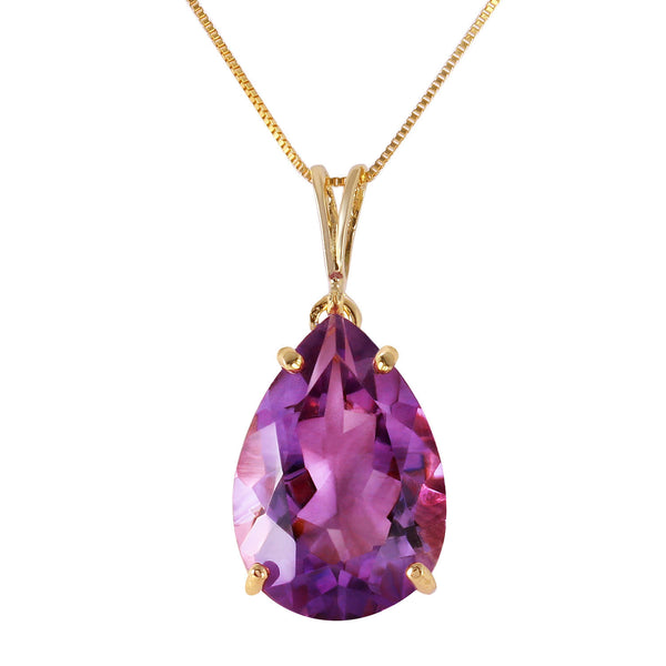 5 Carat 14K Solid Yellow Gold Reality Bites Amethyst Necklace