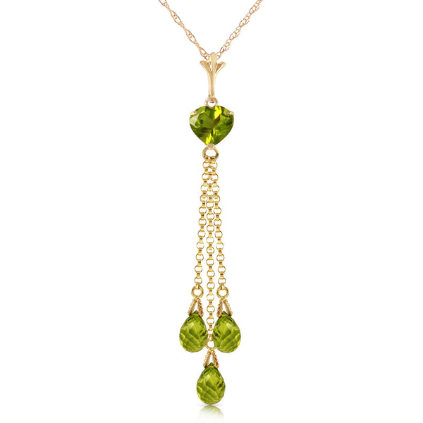 4.75 Carat 14K Solid Yellow Gold Barocco Peridot Necklace