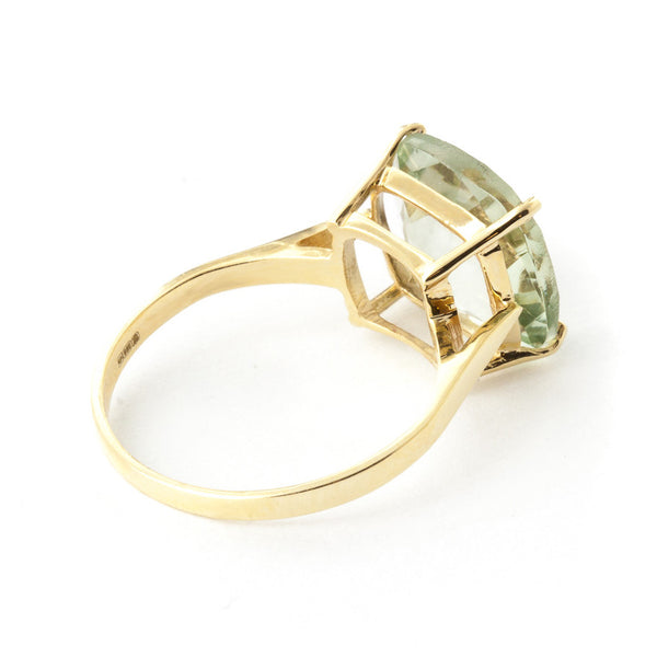 3.6 Carat 14K Solid Yellow Gold Cabaret Green Amethyst Ring