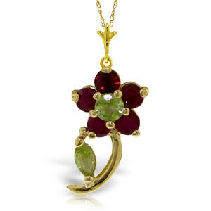 0.87 Carat 14K Solid Yellow Gold Flora Ruby Peridot Necklace