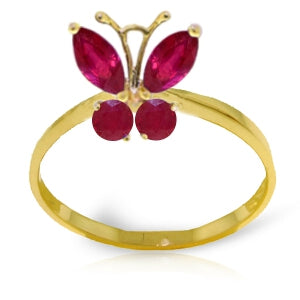 0.6 Carat 14K Solid Yellow Gold Butterfly Ring Natural Ruby