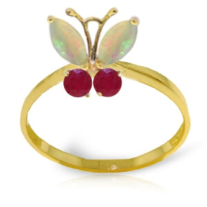 0.7 Carat 14K Solid Yellow Gold Butterfly Ring Opal Ruby