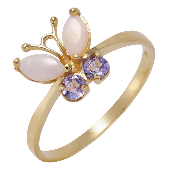 0.7 Carat 14K Solid Yellow Gold Butterfly Ring Opal Tanzanite
