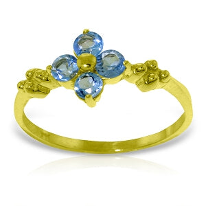 0.58 Carat 14K Solid Yellow Gold Audible Blue Topaz Ring