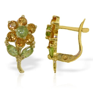 2.12 Carat 14K Solid Yellow Gold Flowers Stud Earrings Citrine Peridot