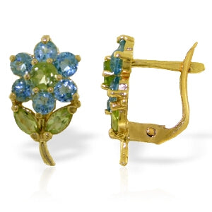 2.12 Carat 14K Solid Yellow Gold Flowers Stud Earrings Blue Topaz Peridot