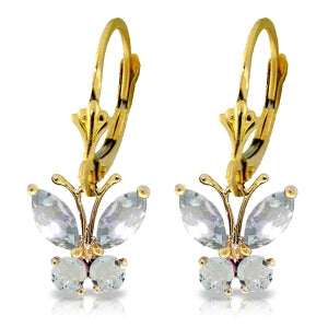1.24 Carat 14K Solid Yellow Gold Butterfly Earrings Natural Aquamarine