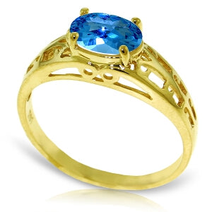1.15 Carat 14K Solid Yellow Gold Filigree Ring Natural Blue Topaz