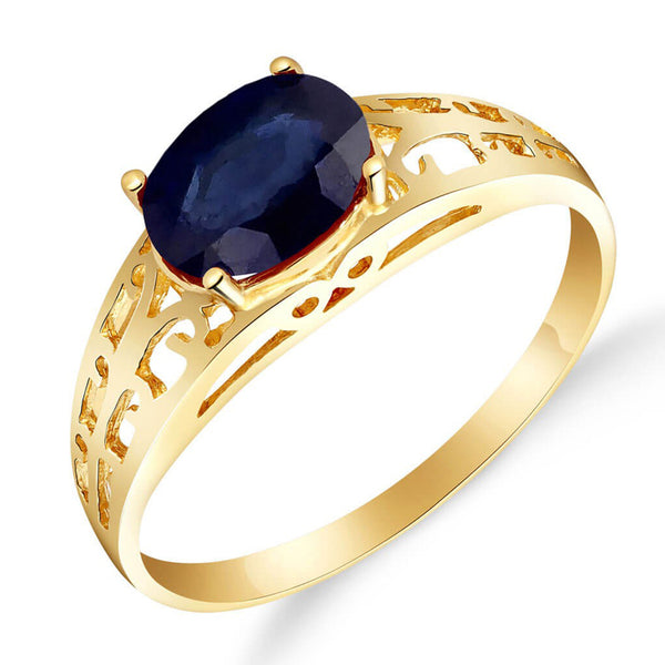1.15 Carat 14K Solid Yellow Gold Filigree Ring Natural Sapphire