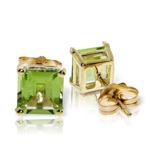 1.75 Carat 14K Solid Yellow Gold Love Intention Peridot Earrings