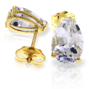 3.15 Carat 14K Solid Yellow Gold Stud Earrings Natural White Topaz