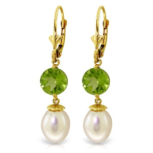 11.1 Carat 14K Solid Yellow Gold Palm Frond Peridot Pearl Earrings
