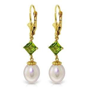 9.5 Carat 14K Solid Yellow Gold Spring Fever Peridot Pearl Earrings