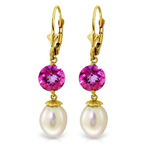 11.1 Carat 14K Solid Yellow Gold Breezy Afternoon Pink Topaz Pearl Earrings