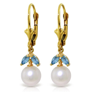 4.4 Carat 14K Solid Yellow Gold White Surf Blue Topaz Pearl Earrings