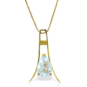 1.5 Carat 14K Solid Yellow Gold Walking In Rain Aquamarine Necklace